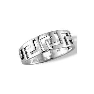 Mens Polished .925 Sterling Silver Greek Key Band Ring Jewelry