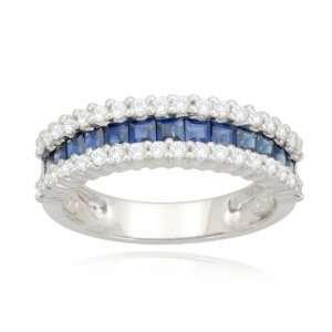 14k White Gold Classic Blue Sapphire Diamond Ring (1/3 cttw, I J Color