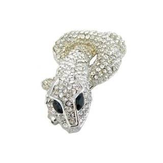 Moveable Gold Tone Crystal Snake Brooch Bar Lapel Pin Jewelry