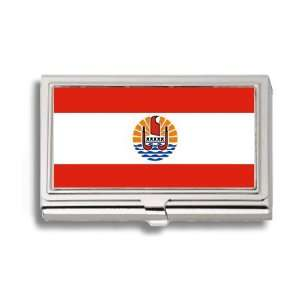 French Polynesia Flag Business Card Holder Metal Case