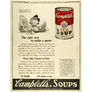 1923 Ad Joseph Campbells Souper Kid Poem Canned Pea Soup