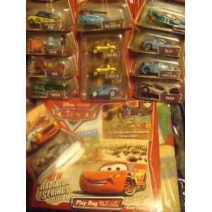 Pixar Play Rug & Car Lot Gold Mia & Tia, Bling Mcqueen, Helicopter