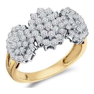 Diamond Ring 10k Yellow Gold Cluster Three Stone Womens (1.00 Carat