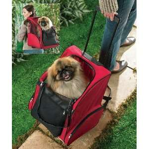 Dog Cat Pet Rolling Carrier Tote Backpack Red Kitchen