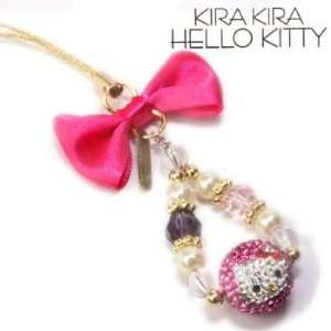 Kitty Sparkly Rhinestone Ball Cell Phone Charm (Pink) Electronics