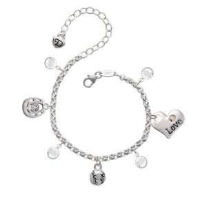 3 D Small Silver Baseball/Softball Love & Luck Charm Bracelet