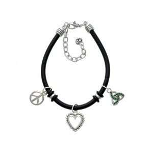 Small 2 D Green Trinity Knot   Black Peace Love Charm Bracelet