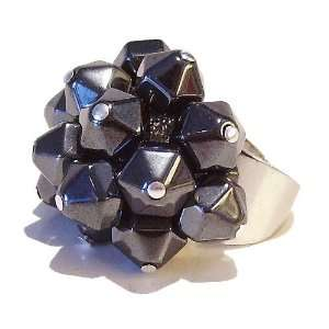 Black Cat Jewellery Store Hematite Cluster Ring   Adjustable Jewelry