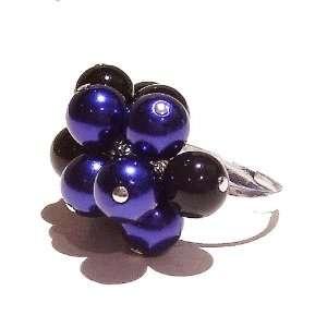 Dark Blue & Black Pearl Cluster Ring   Adjustable Jewelry