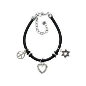 Beaded Border Black Peace Love Charm Bracelet Arts, Crafts & Sewing