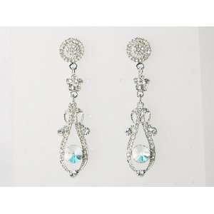 Silver Tone Crystal Rhinestone Flourish Drop Dangle Earrings Jewelry