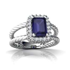 White Gold Emerald cut Genuine Sapphire Rope Ring Size 5.5 Jewelry