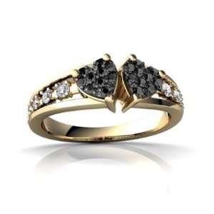 14K Yellow Gold Black Diamond Heart to Heart Ring Size 9 Jewelry