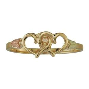 Hills Gold by Coleman Ladies Gold Double Heart Diamond Ring Jewelry