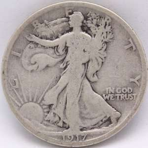 1917 D Silver Walking Liberty Half Dollar   Mint Mark on