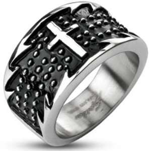 Size 11  Spikes Mens Stainless Steel Jagged Cross Black Enamel Band
