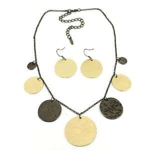 Fashion Jewelry Desinger Inspired Gold and Black Necklace and Earrings