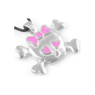 Cute Pink Hearts Skull & Crossbones Pewter Pendant