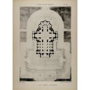 Architect Laloux Cathedral Floor Plan   Original Print