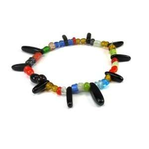 Colorful Glass Beads Stretch Bracelet / Anklet Accented