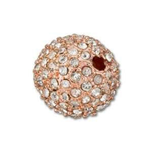 Rose Gold Plated Crystal Craft Large Hole Pavé Round Bead
