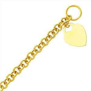 Yellow Gold Heart Tag Bracelet (Length 7.5; Measures 9.0mm Bracelet