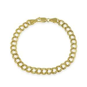 Gold over Sterling Silver Italian Double Link Charm Bracelet Jewelry