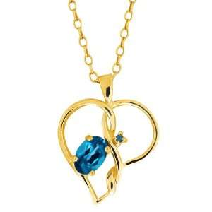 0.56 Ct Oval London Blue Topaz and Diamond Gold Plated