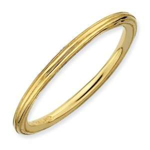 Sterling Silver Stackable Gold plated Step down Ring Jewelry