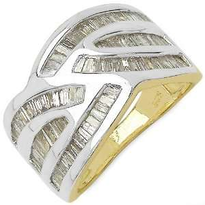 35 Carat 14K Gold Plated Genuine Diamond Accents Sterling Silver Ring