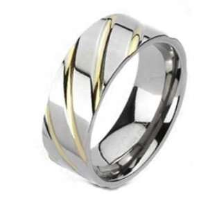 High Polished Titanium Ring With Diagonal Gold Plated Grooves Jewelry