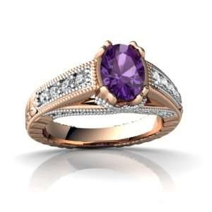 14k Rose Gold Oval Genuine Amethyst Antique Style Ring