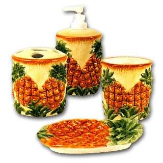 PINEAPPLE 3 D Ceramic Bathroom Bath Accessories Set NEW