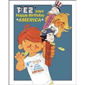 Pez Candy Metal Tin Sign Bicentennial Happy Birthday