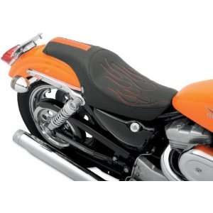 Seat With Orange Flame and GT Stripe For Harley Davidson Sportster