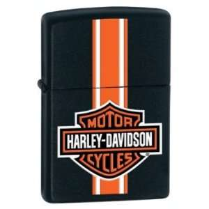 Zippo Lighter Harley Davidson Logo With Orange Stripe On Black Matte