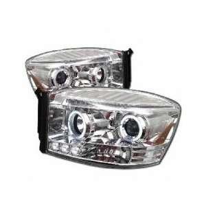 06 08 Dodge Ram Halo LED Projector Head Lights   Chrome Automotive