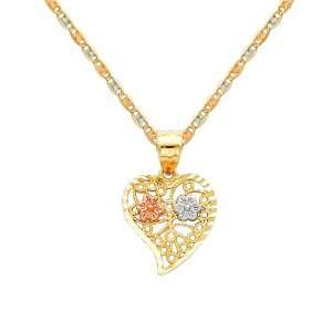 14K 3 Tri color Gold Flower in Heart Charm Pendant with Tri color Gold