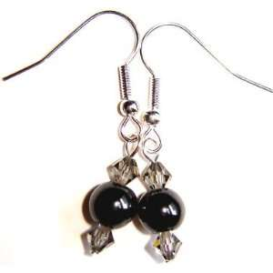 Dangle Magnetic Hematite Earrings with Swarovski Crystal