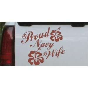 Brown 5in X 5.8in    Proud Navy Wife Hibiscus Flowers Military Car