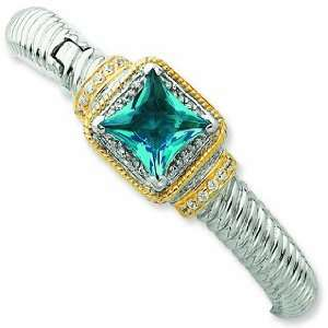 Sterling Silver & Gold Plated Blue Cz Hinged Cuff Bangle Jewelry