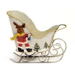 Tin Sleigh Moose Basket   Christmas Holiday Gift Basket