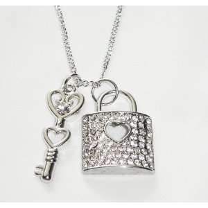 Crystal Padlock & Key to My Heart Charm Necklace
