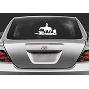 Big COWBOY AND HIS DOG  White 12 Vinyl STICKER / DECAL