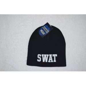SWAT Law Enforcement Black Skull Cap   Cuffless Beanie Hat