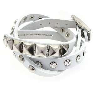 White 3 Effect Stud Italian Calf Leather Wrap Bracelet Jewelry
