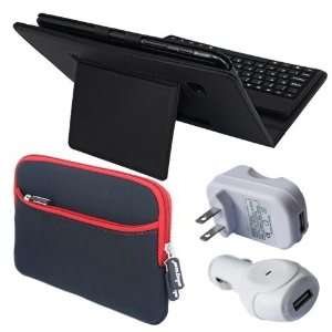 Premium Black Leather Case With Bluetooth Keyboard + Red