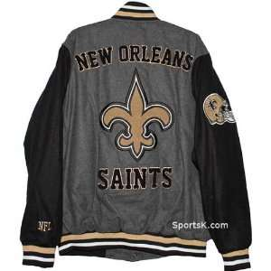 New Orleans Saints Grey Wool Varsity Jacket Sports & Outdoors