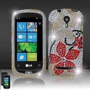 LG Quantum C900 Full Diamond Bling Red Flowers Hard Case Snap on Cover