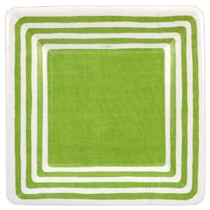Stripe Border Lime Green 7 inch Square Plates Kitchen